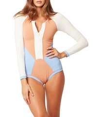 women's l space mod front zip long sleeve one-piece swimsuit, size 8 - beige