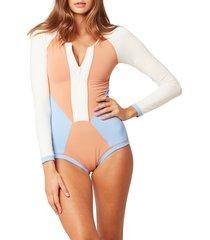 women's l space mod front zip long sleeve one-piece swimsuit, size 6 - beige
