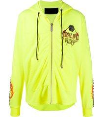 philipp plein stud panel rock hoodie - yellow