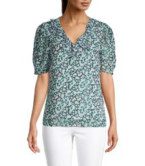 karl lagerfeld paris women's floral-print blouse - cerulean - size xl