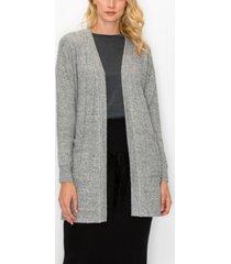 women's cozy front pocket side slit cardigan