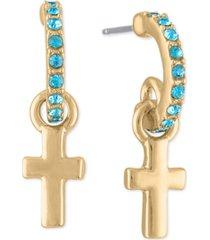 rachel rachel roy gold-tone cross charm pave huggie hoop earrings