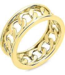 sterling forever women's 14k goldplated sterling silver curb chain band ring/size 6 - size 6