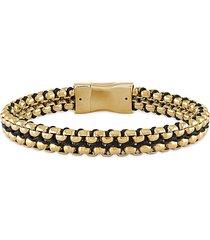 esquire men's jewelry men's goldtone stainless steel & woven cord bracelet