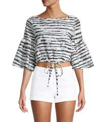 milly women's lydia striped cropped top - black - size l