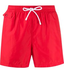 kiton straight leg swim shorts - red