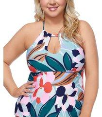raisins curve trendy plus size juniors' lucky day rosalie printed underwire tankini top women's swimsuit