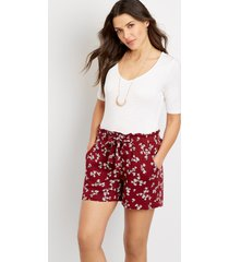 maurices womens high rise floral paperbag waist 5in shorts red