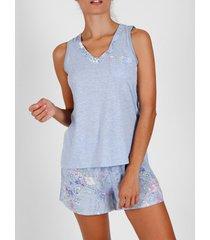 pyjama's / nachthemden admas pyjama shorts tanktop lichtblauwe bloemen adma's