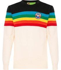 mc2 saint barth blue and white cashmere man sweater rainbow stripes