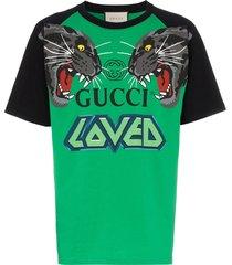 gucci over tiger head print cotton t-shirt - green