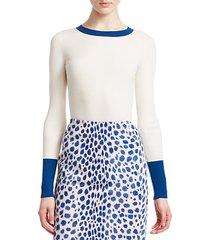 bicolor stretch-wool crewneck pullover