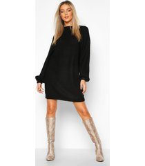 crew neck fisherman rib sweater dress, black
