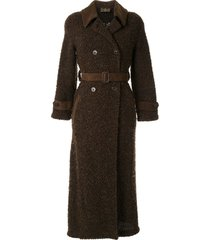 fendi pre-owned double-breasted teddy coat - brown