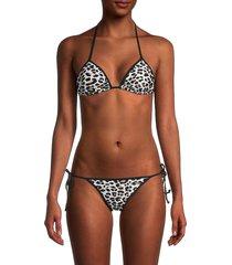 zadig & voltaire women's leopard print bikini top & bottom set - black - size 40 (l)