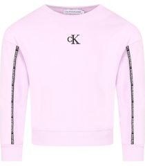 calvin klein lilac sweatshirt for girl with logo