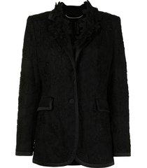 ermanno scervino floral-embroidered mesh blazer - black