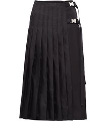 prada buckle-detail pleated midi skirt - black