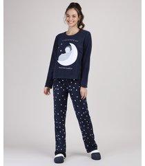 pijama de fleece feminino com bordado de pinguim estampado de estrelas manga longa azul marinho