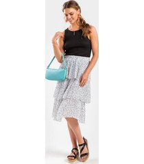 amy dotted tier midi skirt - black/white