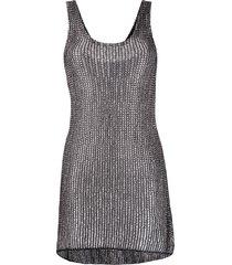 alanui metallic chunky-knit mini dress - black