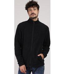 blusão masculino básico em fleece com bolsos preto