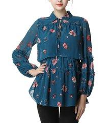 kimi + kai coco maternity or nursing floral print blouse