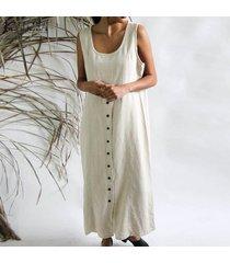 zanzea mujeres sin mangas de tiras botones vestido de sun larga de las señoras del chaleco del vestido plus -beige