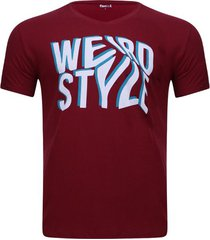 camiseta con screen color vino, talla m
