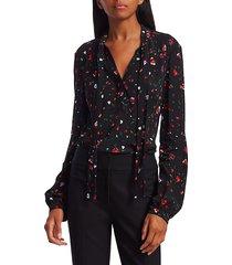 derek lam evadne floral blouse - black - size 2