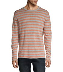 striped cotton & linen-blend sweatshirt