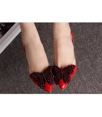 pp447cutie sequined butterfly pumps, size 4-8.5, red