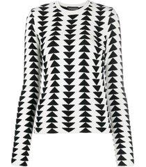 emporio armani triangle pattern crew-neck pullover - grey