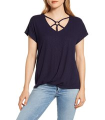 women's wit & wisdom o-ring v-neck rib t-shirt, size small - blue (nordstrom exclusive)