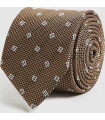 reiss holborn - silk geometric tie in gold, mens