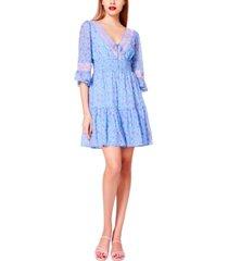 betsey johnson chiffon contrast-lace fit & flare dress