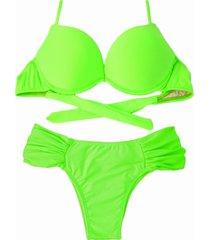biquíni bojo bolha alça estreita divance calcinha lateral dupla franzida verde lime