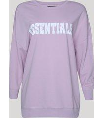 """blusão de moletom feminino """"essentials"""" lilás"""