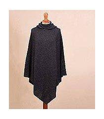 alpaca blend hooded poncho, 'adventurous style in slate' (peru)