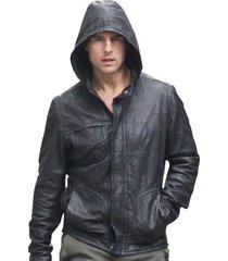 handmade custom mi4 tom cruise leather jacket, tom cruise movie hooded jacket