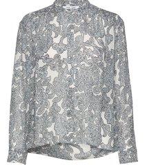 elmy shirt aop 9695 blus långärmad grå samsøe samsøe