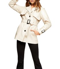 women's topshop dolly faux leather belted jacket, size 12 us - ivory