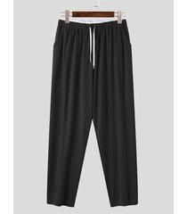 incerun pantalón de chándal cómodo con bolsillo lateral para hombre