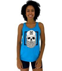 regata feminina alto conceito caveira lenhador azul piscina - azul - feminino - algodã£o - dafiti