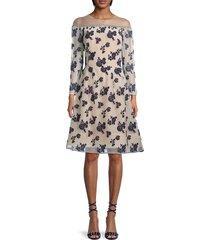 oscar de la renta women's floral illusion fit & flare dress - ivory navy - size 10