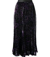 dvf diane von furstenberg brett pleated mid-length skirt - purple