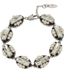 miriam haskell new york mixed beaded deco imitation pearl stone cluster link bracelet