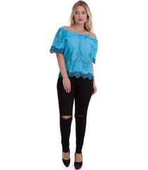 blusa versani barra renda feminina