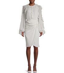 frill long-sleeve silk dress