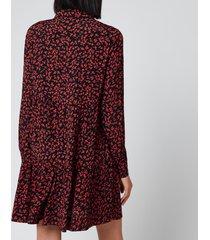 ganni women's leaf print crepe mini shirt dress - black/red - eu 40/uk 12